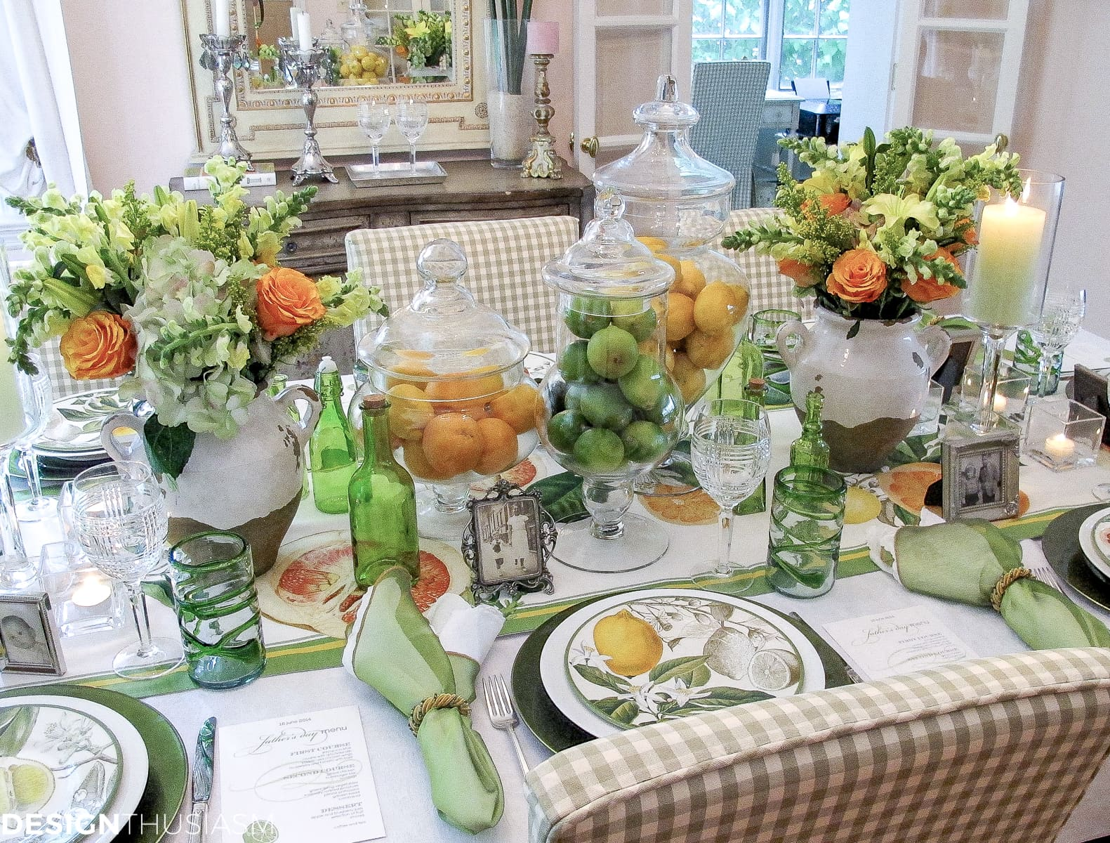 Father's Day decorations | A citrus tablescape - designthusiasm.com