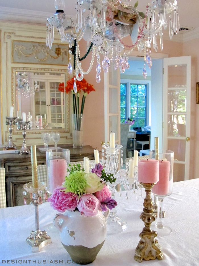 Peonies, crystal and candlesticks