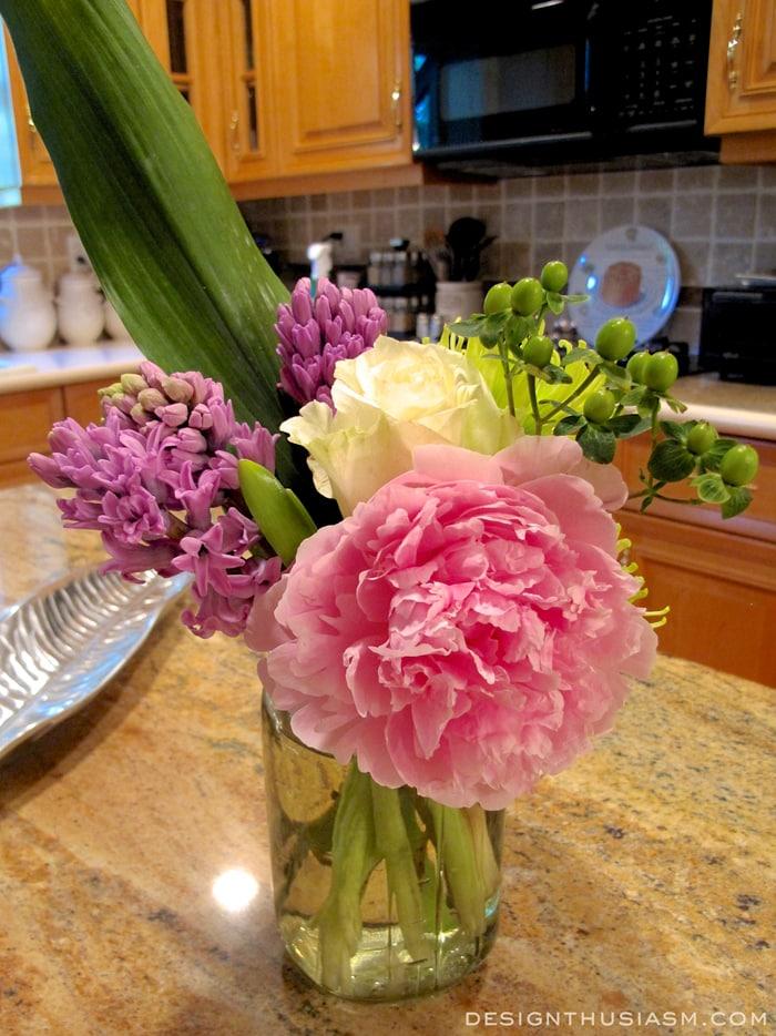 Peonies, rose and hyacinth