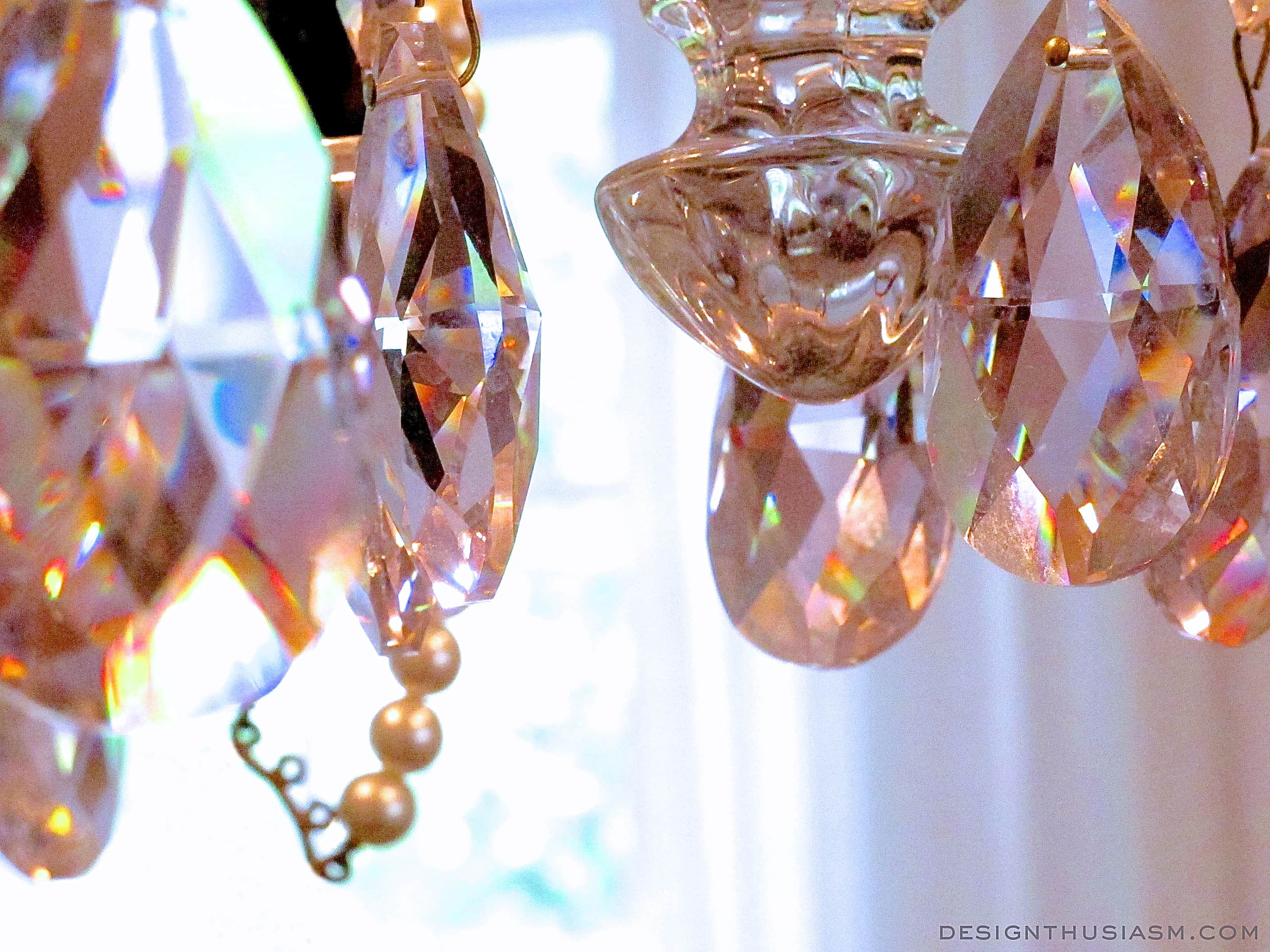 Vintage Chandelier with Teacups and Pink Crystals | Designthusiasm.com