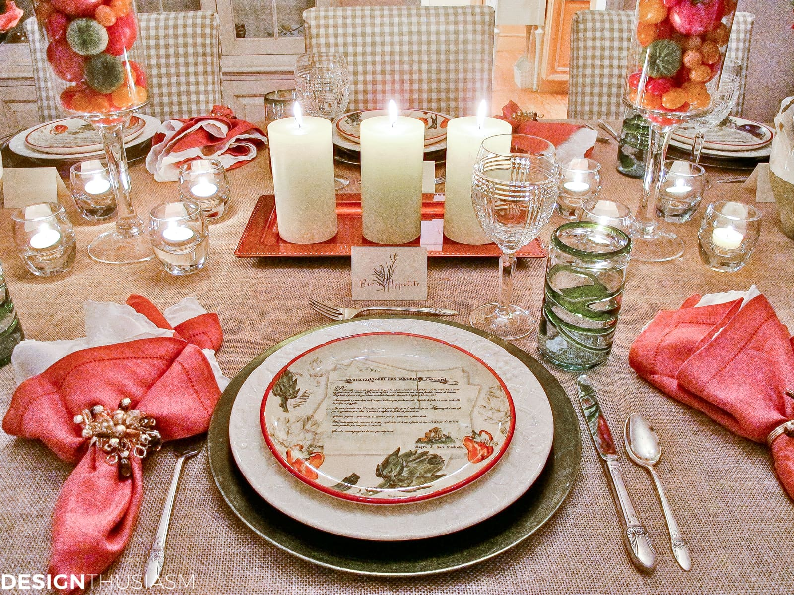 Tuscan tablescape ideas for your Italian themed party - designthusiasm.com