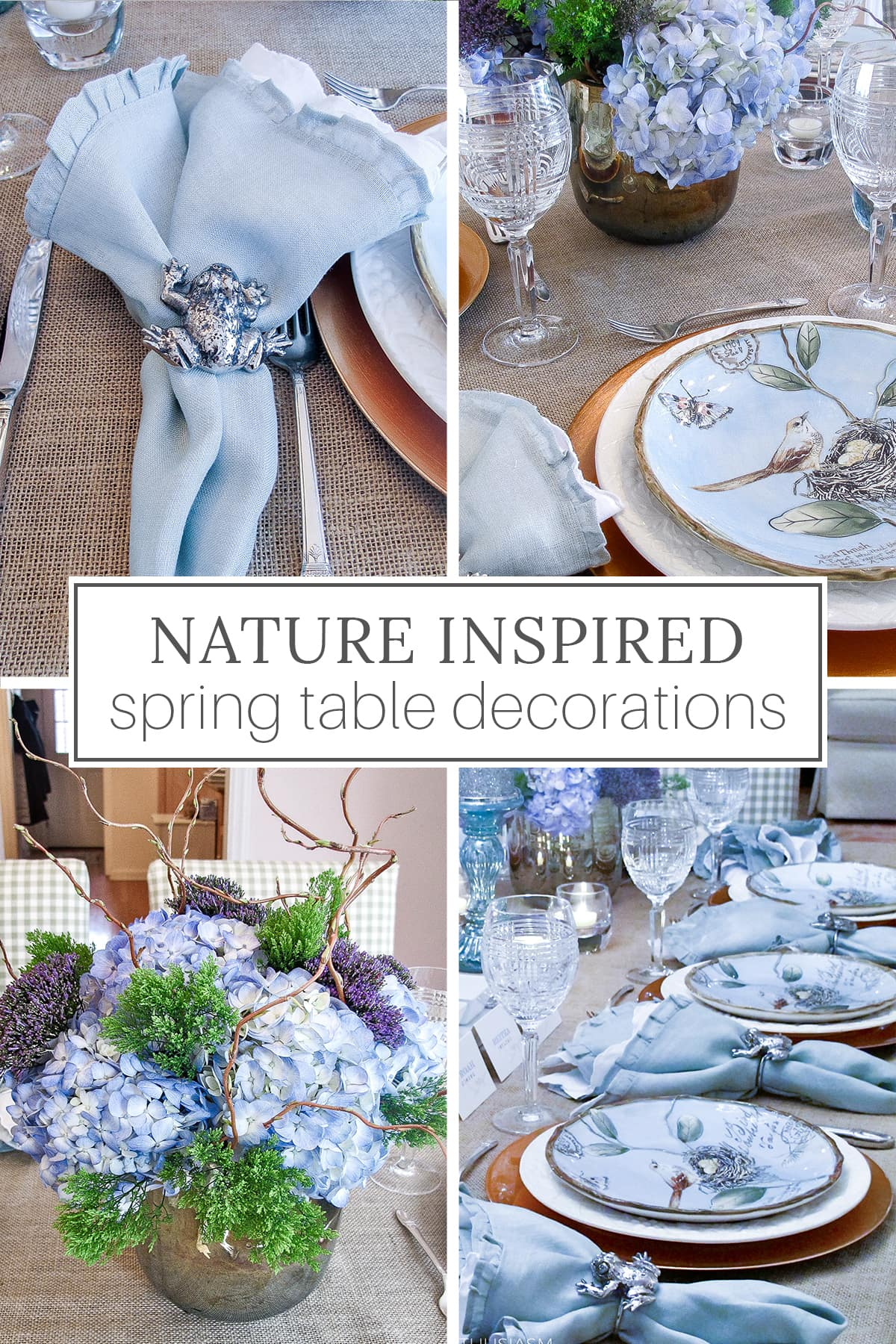Nature inspired spring table decorations