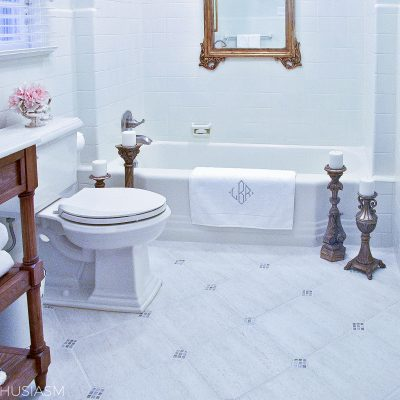 Bathroom Ideas on a Budget: Creamy White Painted Tile
