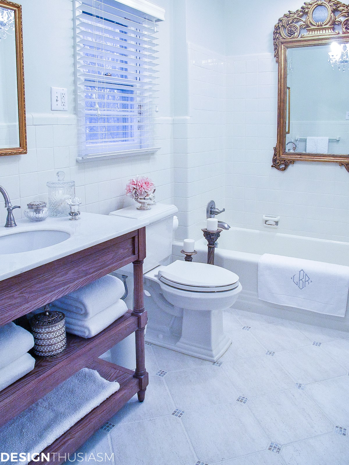 Bathroom Ideas on a Budget | Creamy White Painted Tile - designthusiasm.com