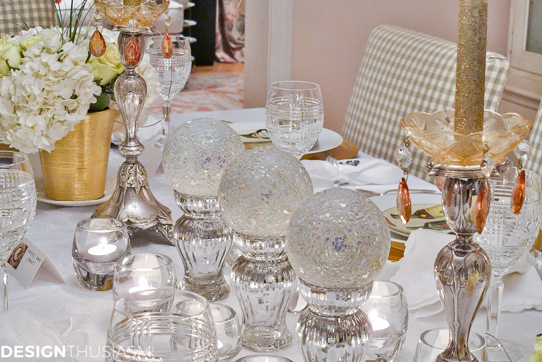 New Years Eve Party Themes   Tablescape with Timepieces - designthusiasm.com