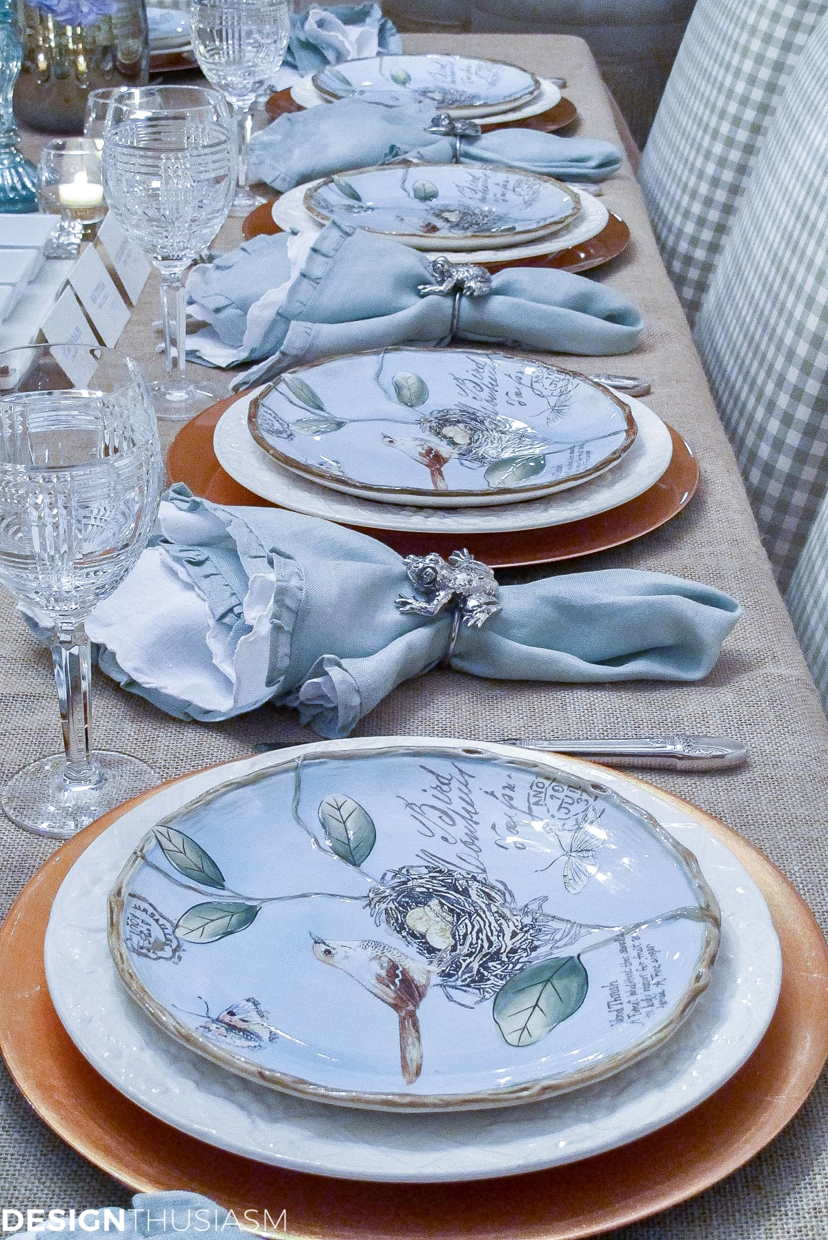 Spring plates a nature inspired rustic table setting Place setting ideas