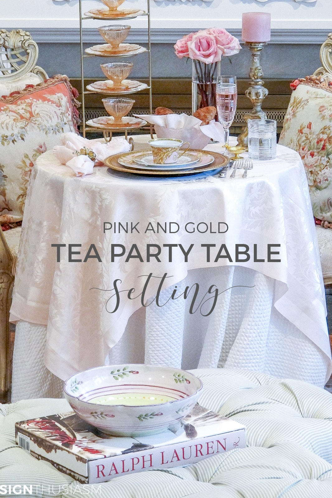 Tea party table setting set by the fireplace