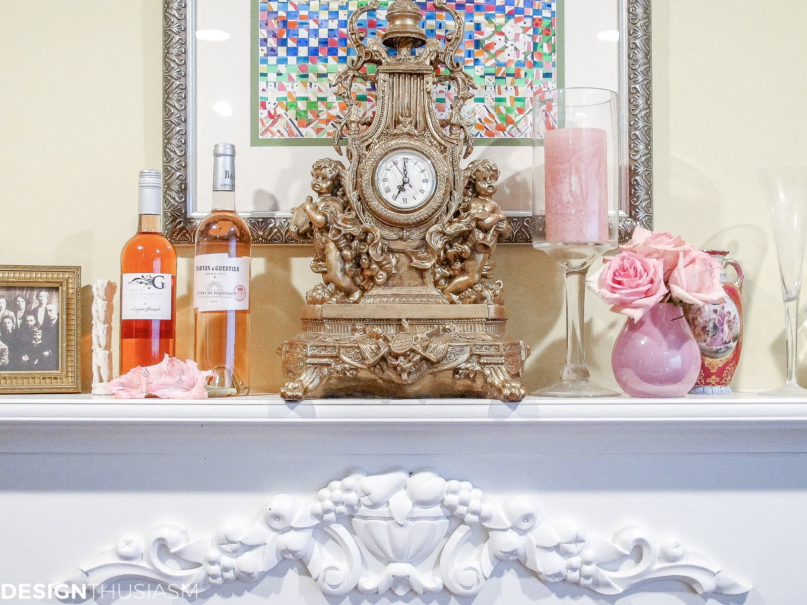 Pretty pink and gold mantel for a tea party table setting