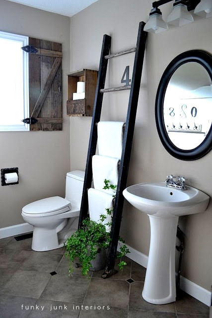Funky Junk Bachelor Pad Bathroom Makeover