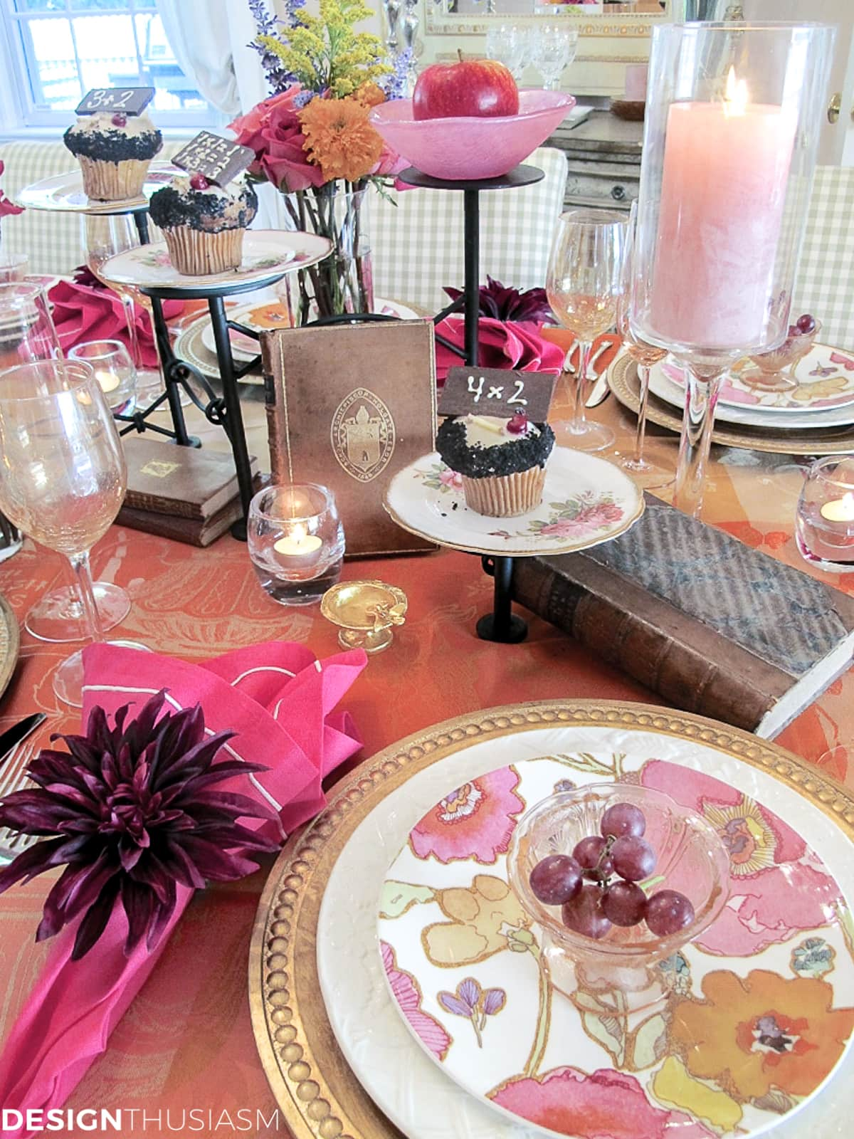 book club table setting with vintage books