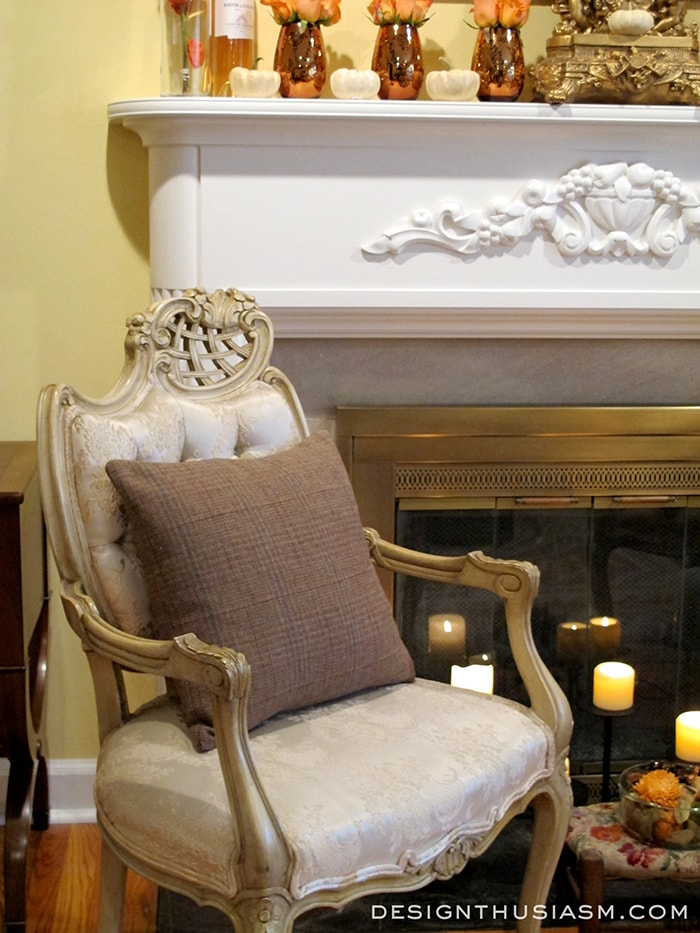 Fall Fireplace with French Chair
