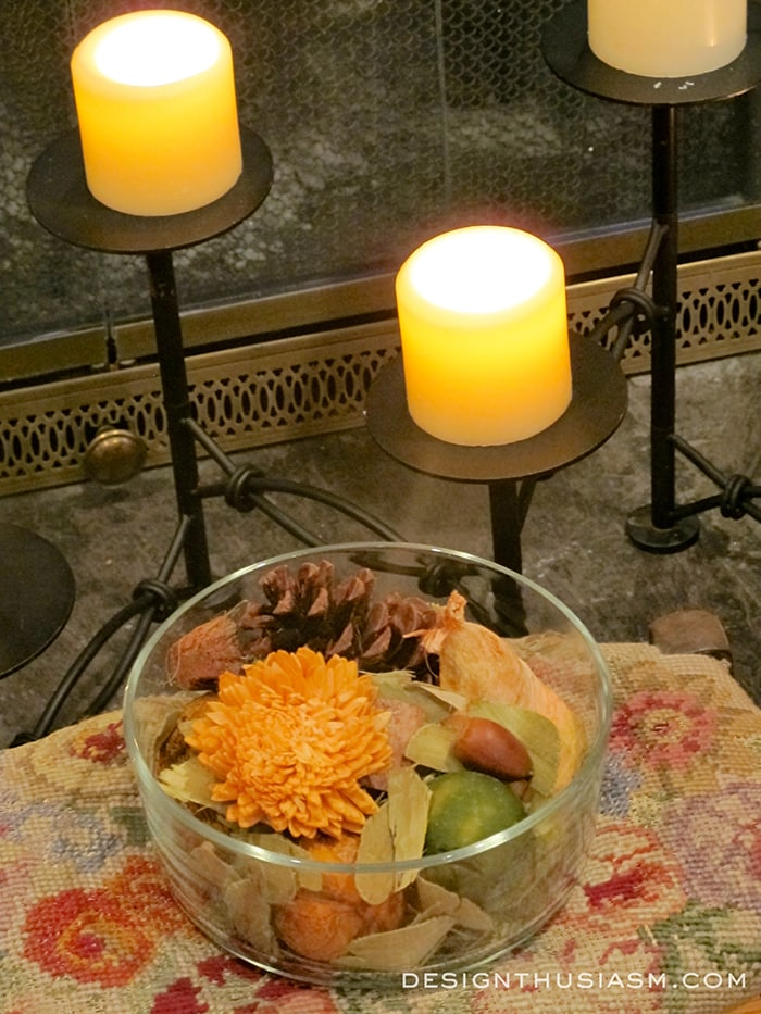 Fireplace Candelabra and Fall Potpourri
