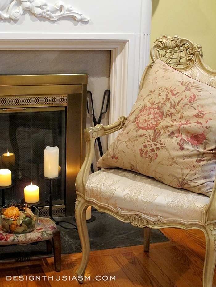 Fall Fireplace with French Country Chair