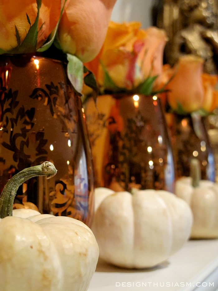 Fall Mantel with Tiny White Pumpkins