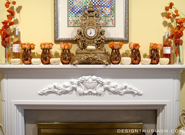 Fall Mantel with Orange Flowers