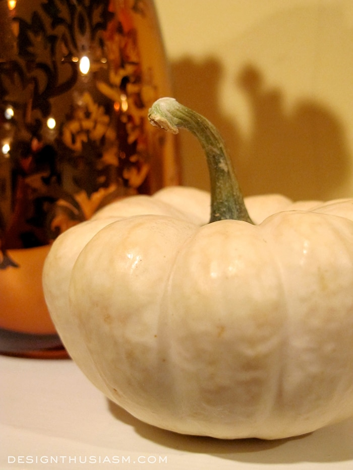 White Pumpkin on Fall Mantel