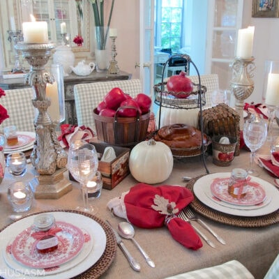 apples and honey in a rustic tablescape