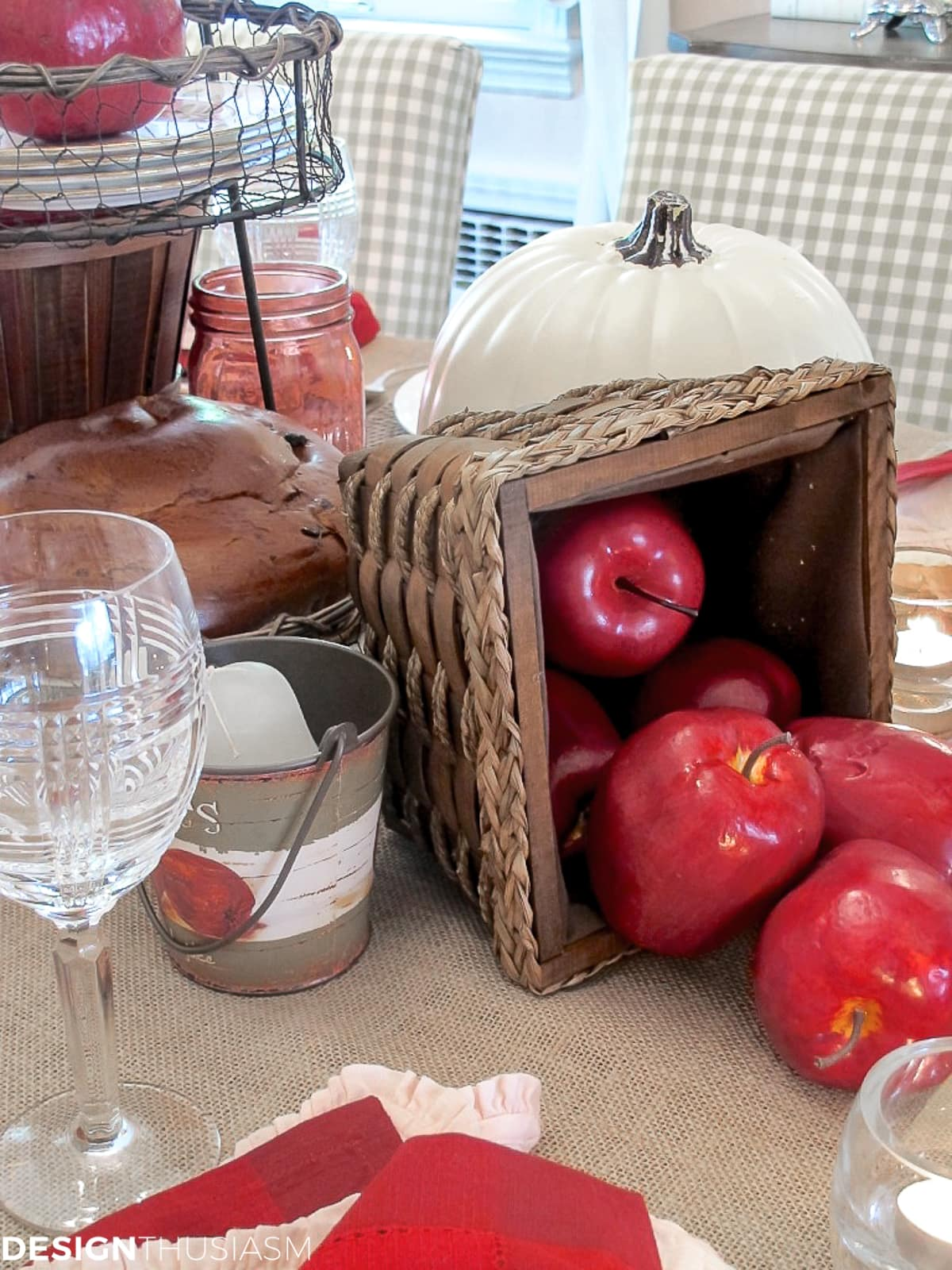 basket of apples in a rustic tabelscape