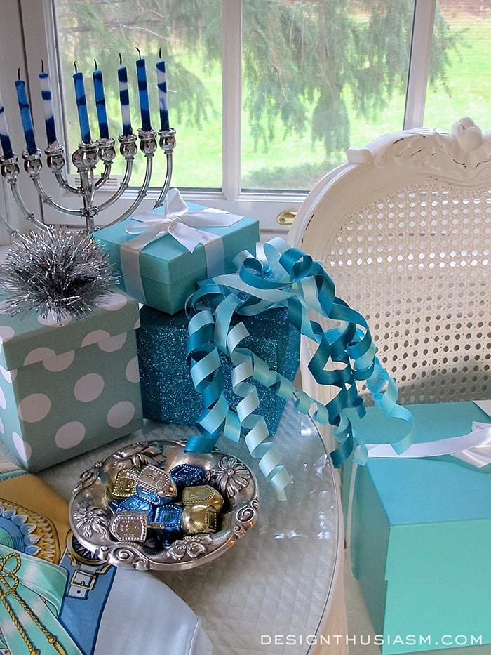 Elegant Hanukkah Decor Using Tiffany Blue