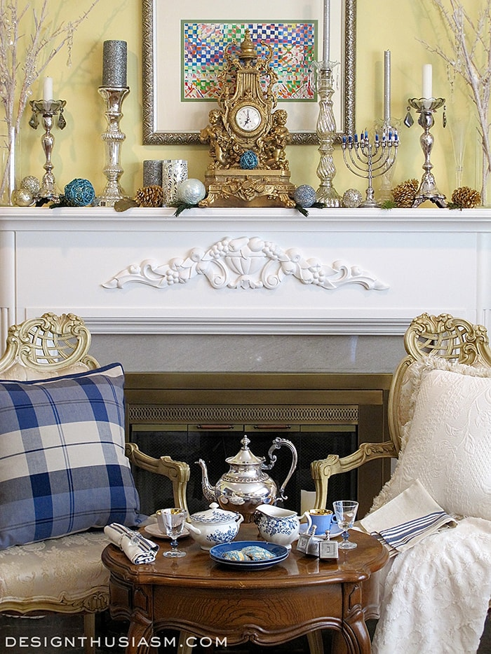 Country french chanukah tea for French country fireplace