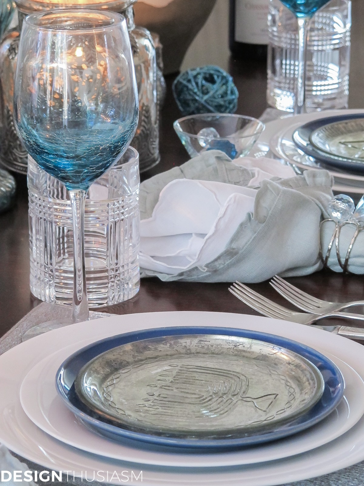 Festival of Lights Hanukkah Table Setting | Designthusiasm.com & Candlelit Festival of Lights Hanukkah Table Setting