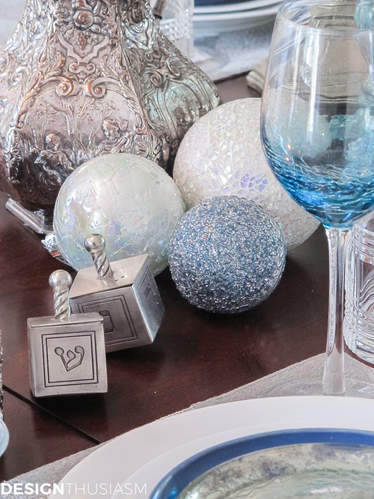 Festival of Lights Hanukkah Table Setting | Designthusiasm.com