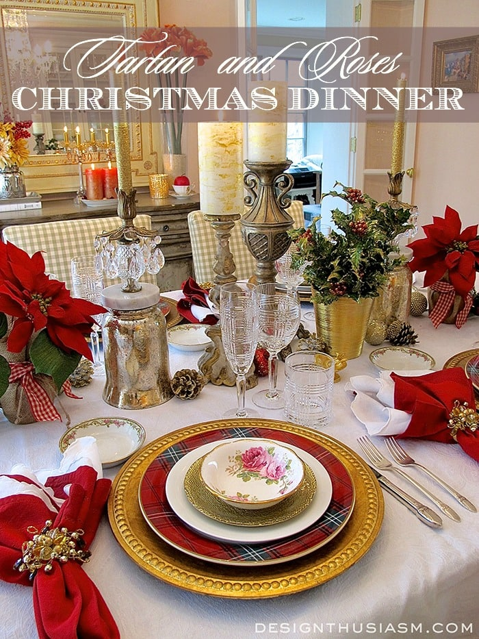 Tartan and roses christmas dinner - Christmas table setting ideas ...