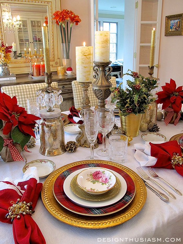 Tartan and roses christmas dinner for Christmas decorations for the dinner table