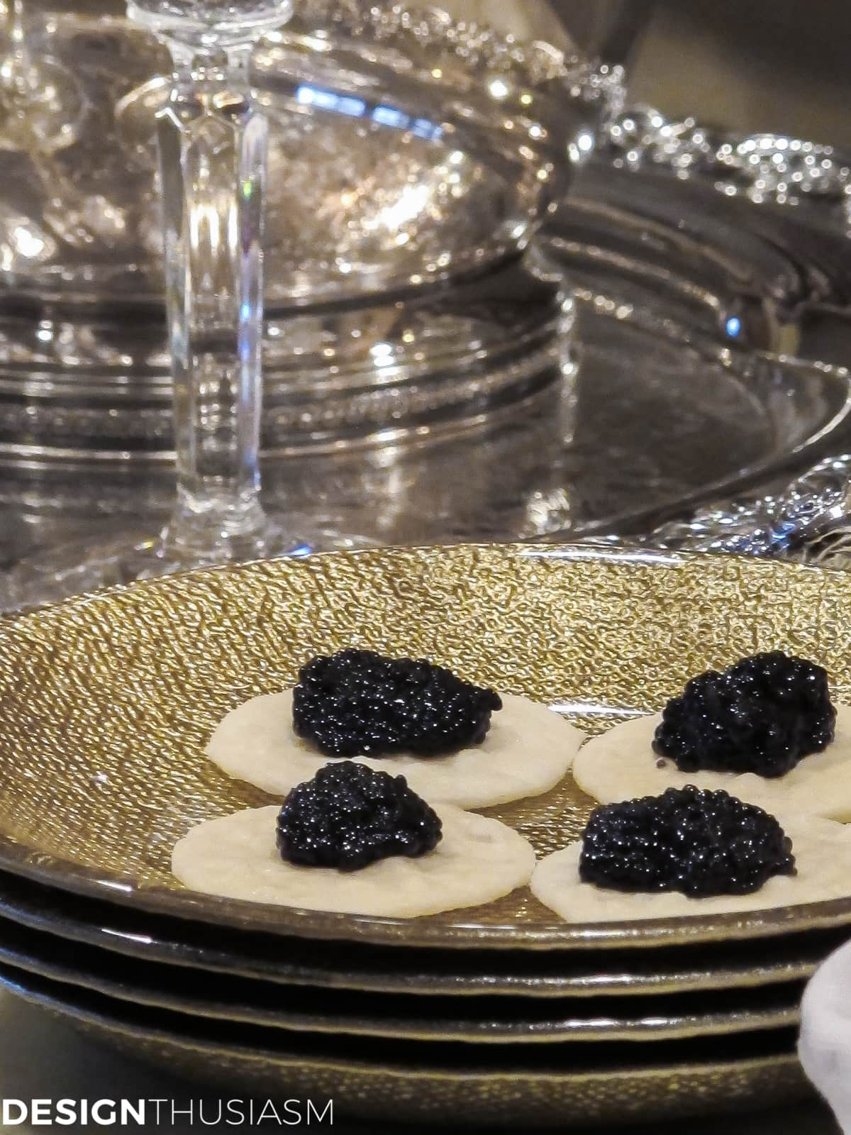 ideas for new years eve serving bar with caviar on gold plates