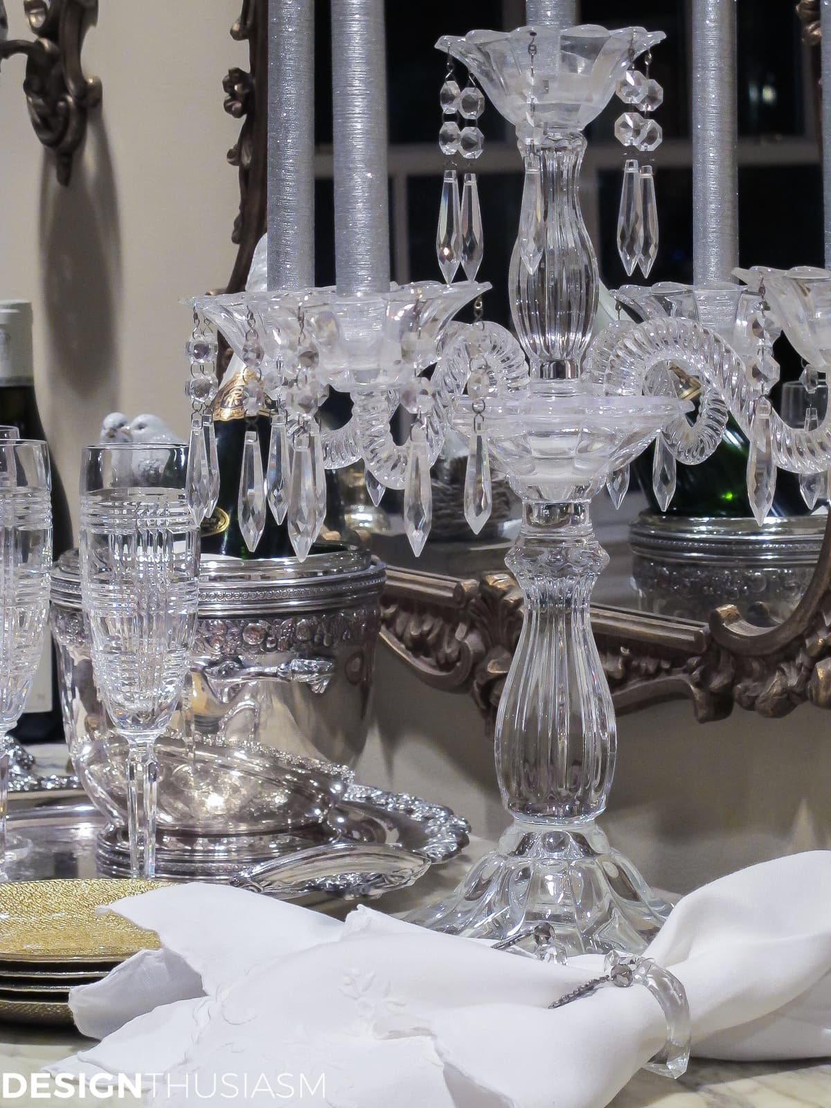ideas for new years eve serving bar with crystal candelabra