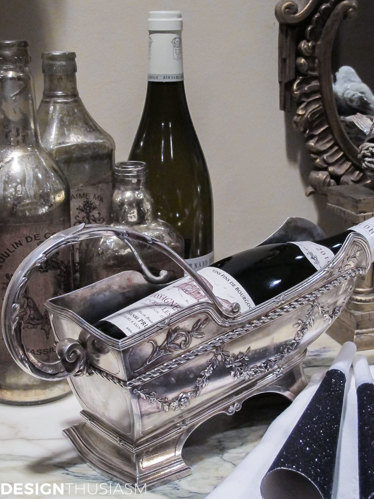 ideas for new years eve serving bar with silver wine caddy
