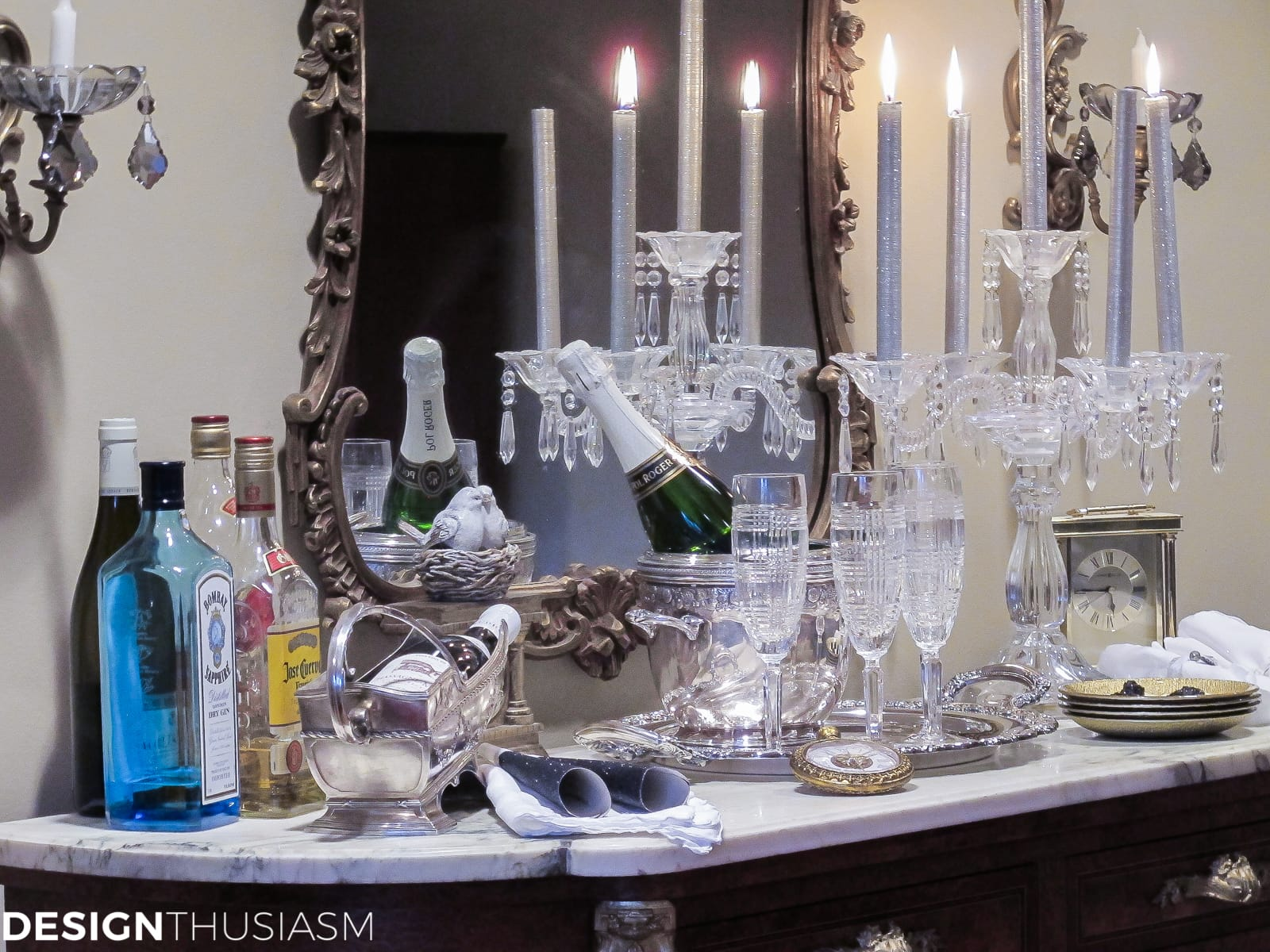 ideas for new years eve serving bar with crystal and candlelight