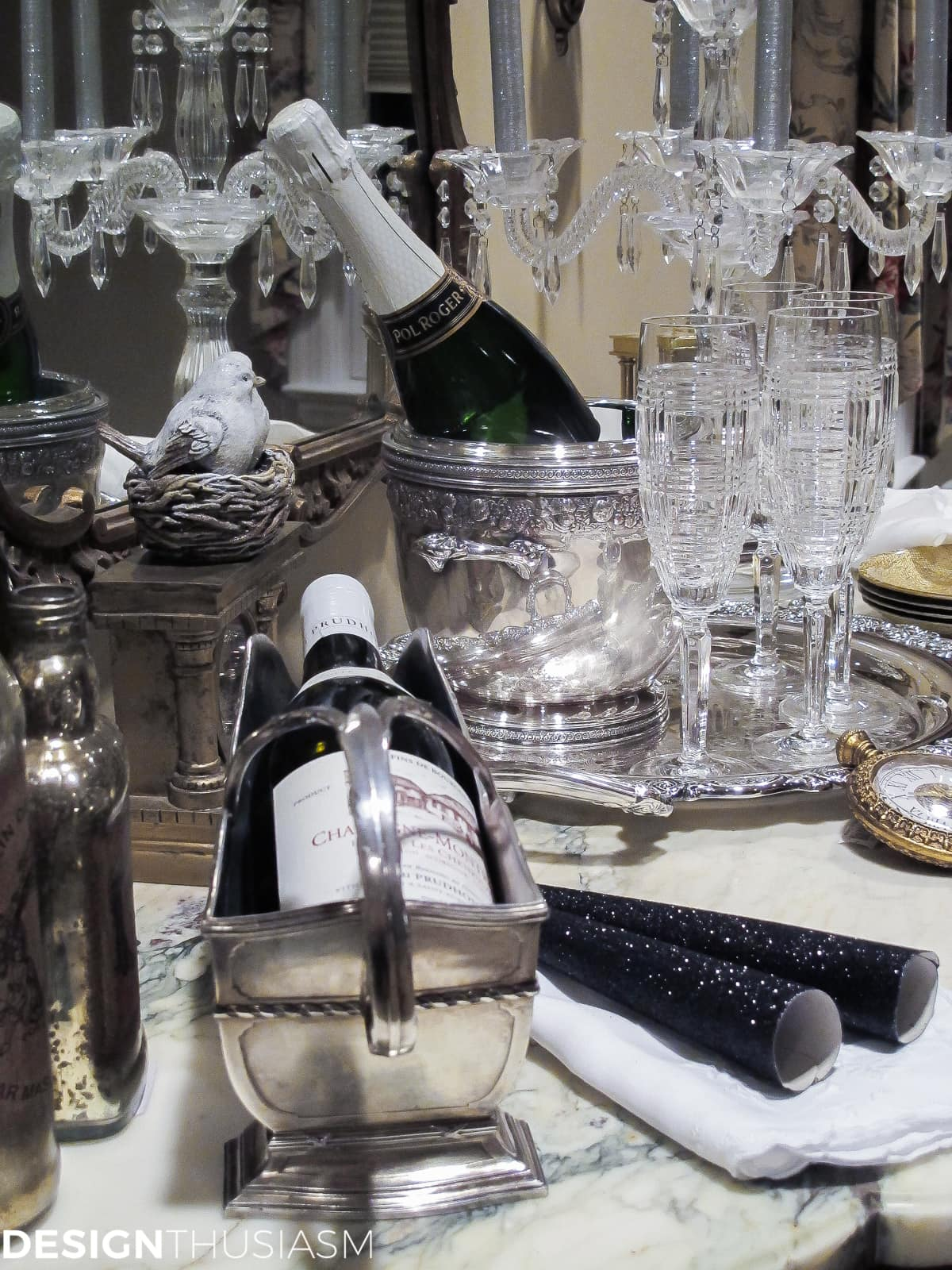 ideas for new years eve serving bar with champagne and wine
