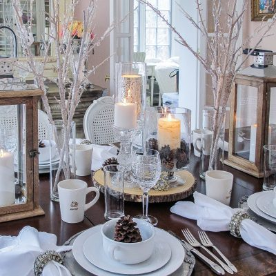 Winter Decorations Add Flavor to a White Tablescape
