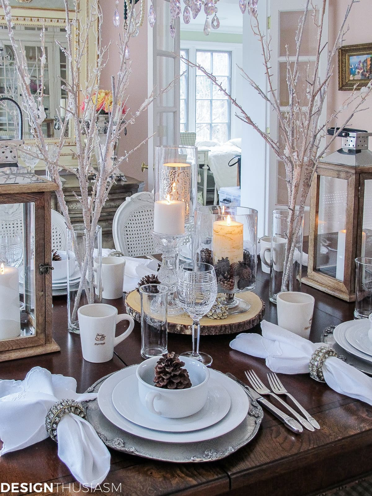 White Tablescape Comes Alive with Winter Decorations | Designthuisasm.com