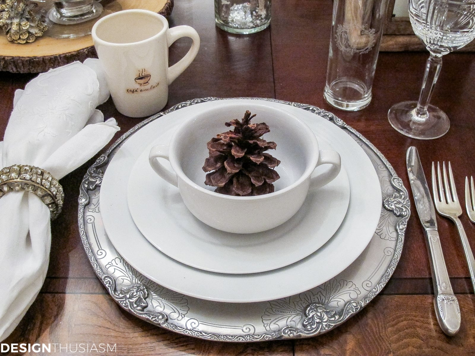 Winter Decorations Add Flavor to a White Tablescape   Designthuisasm.com