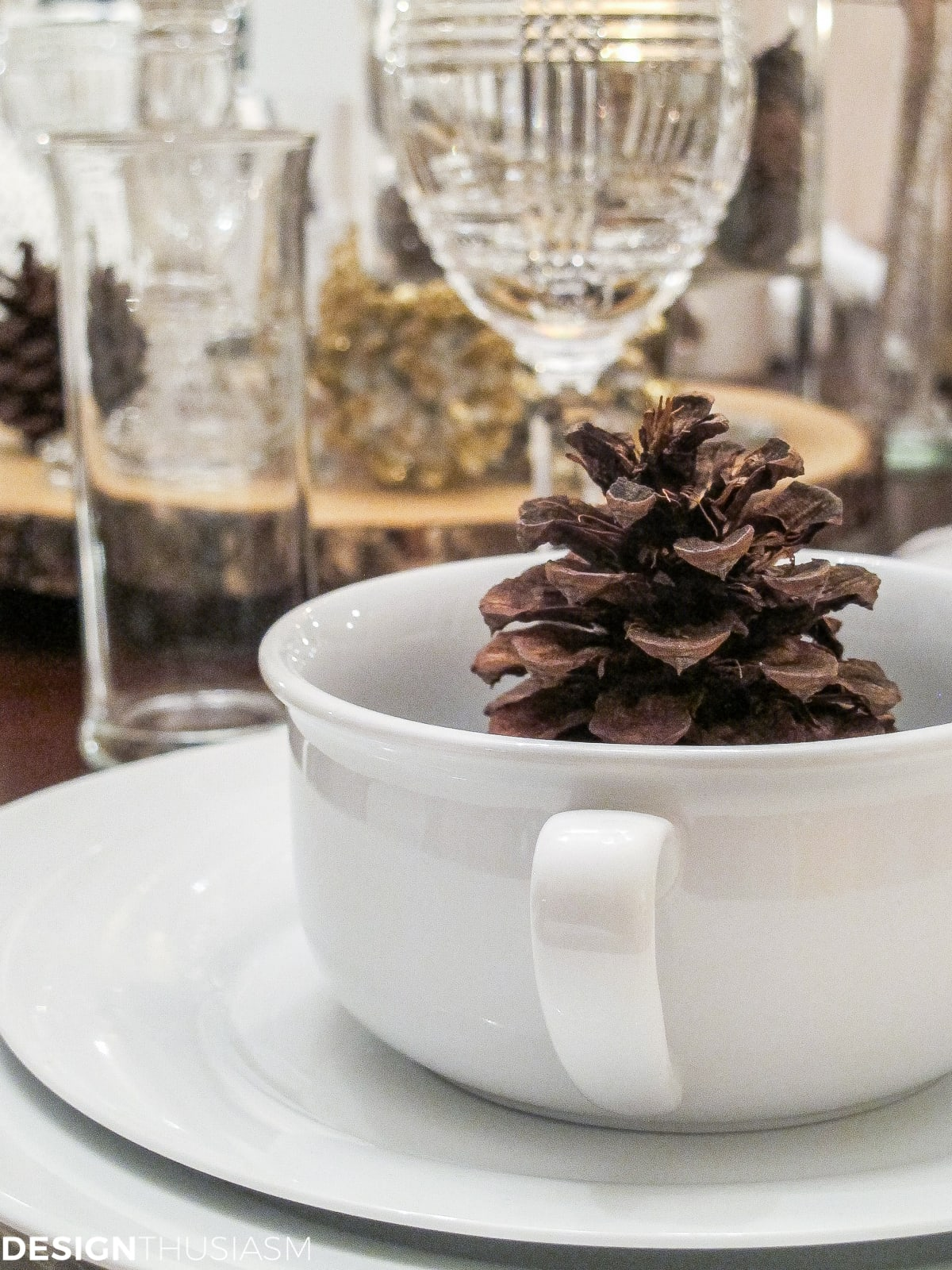 Winter Decorations Add Flavor to a White Tablescape | Designthuisasm.com