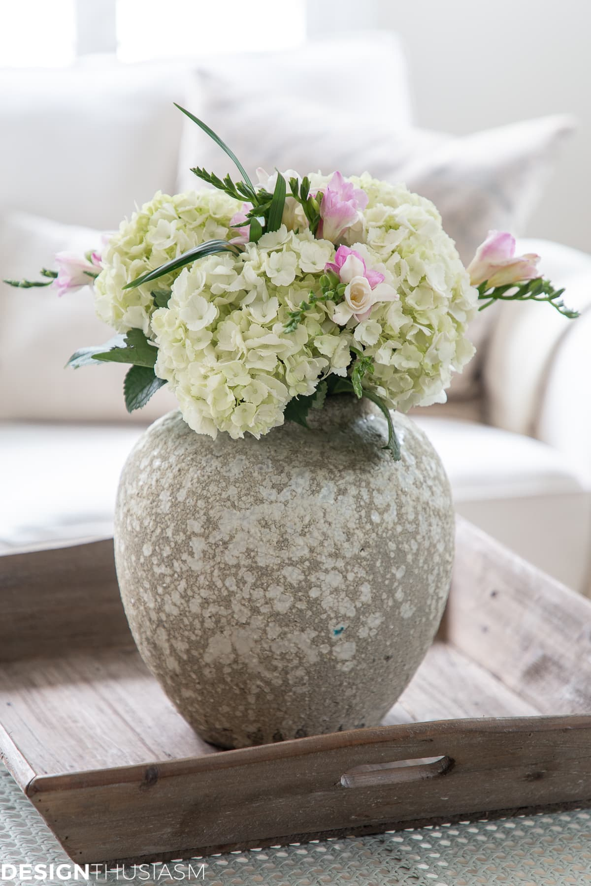 white winter floral in a cozy living room