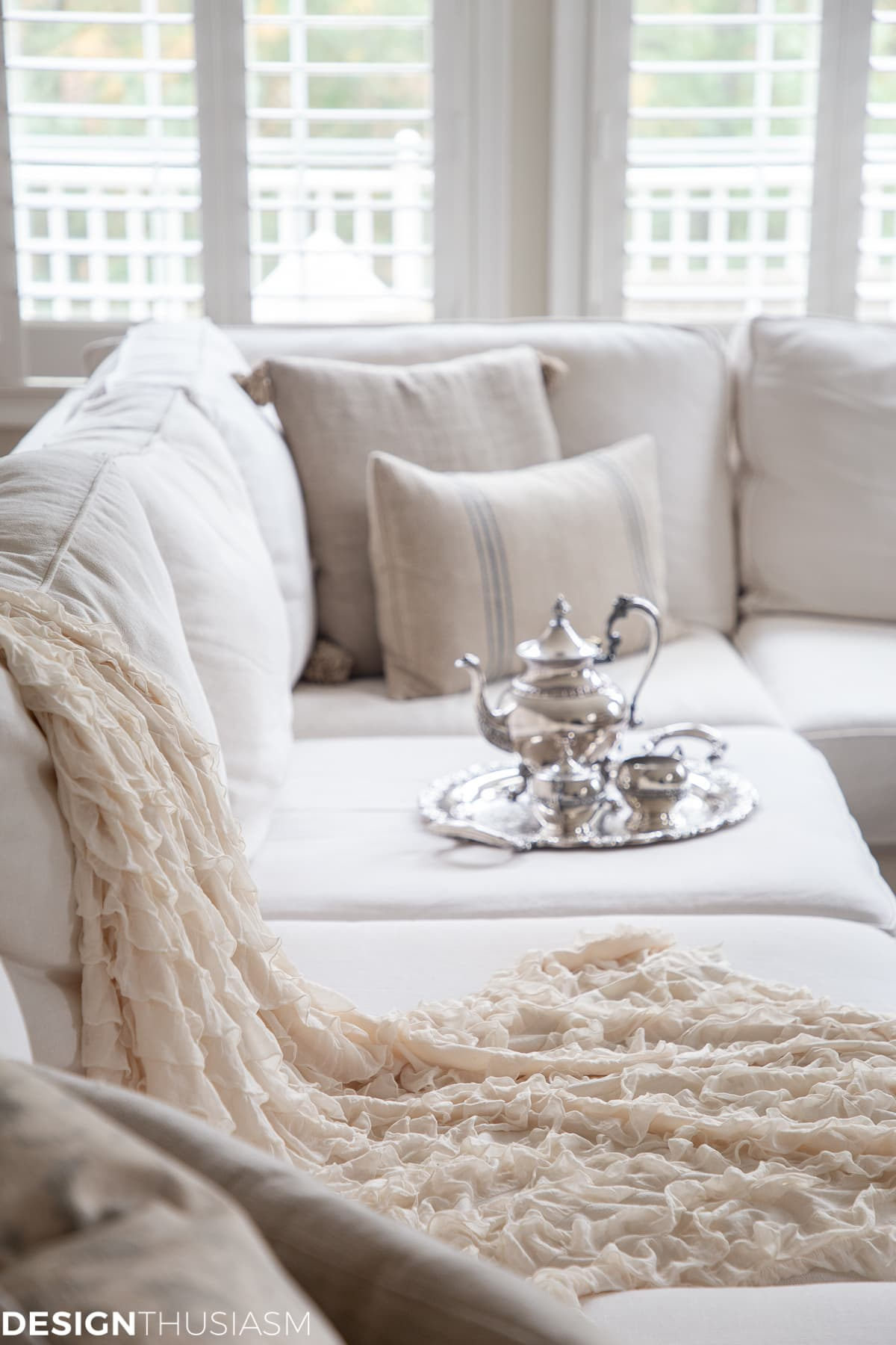 winter white living room with cozy tea set