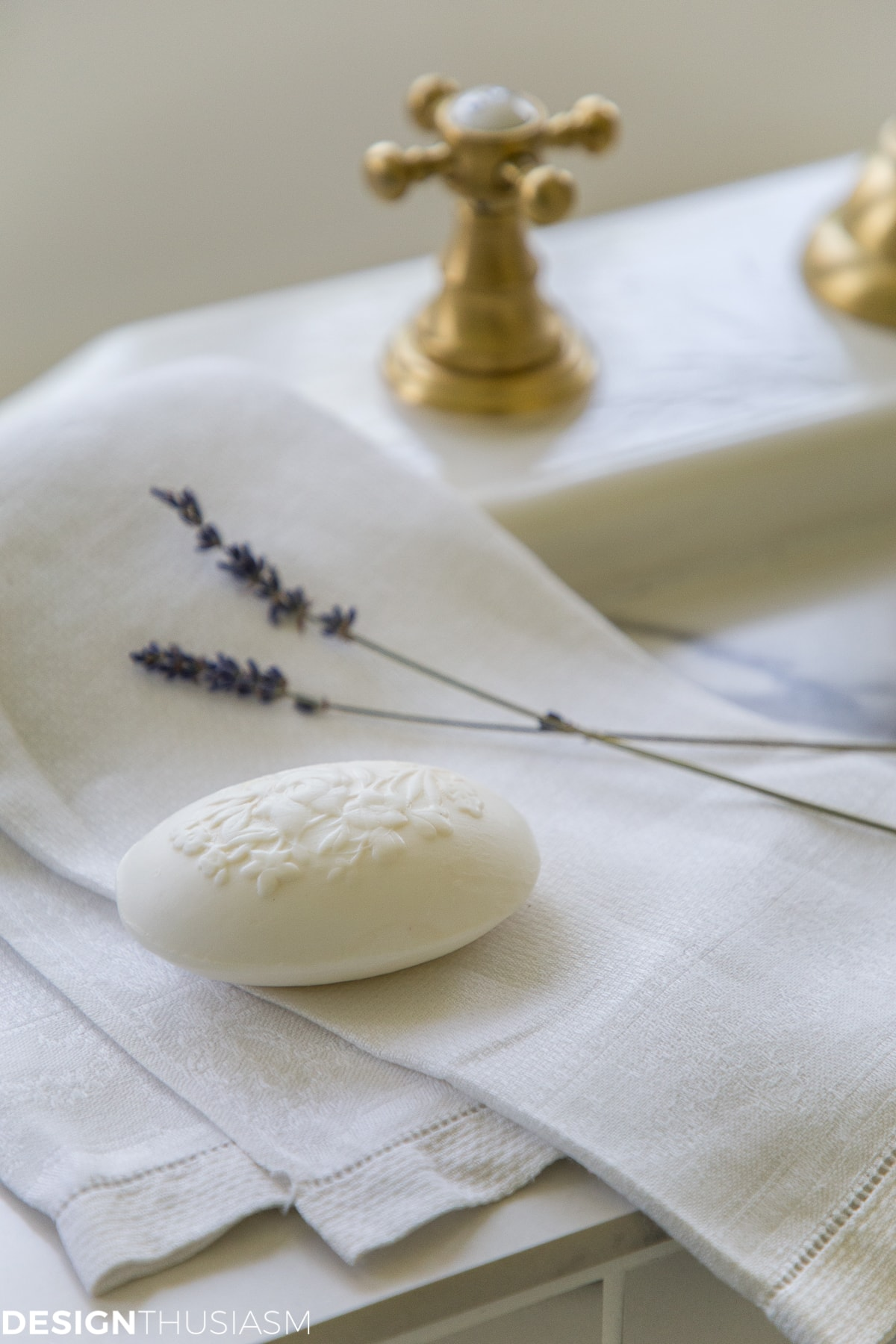 white linen and soap in a winter bathroom