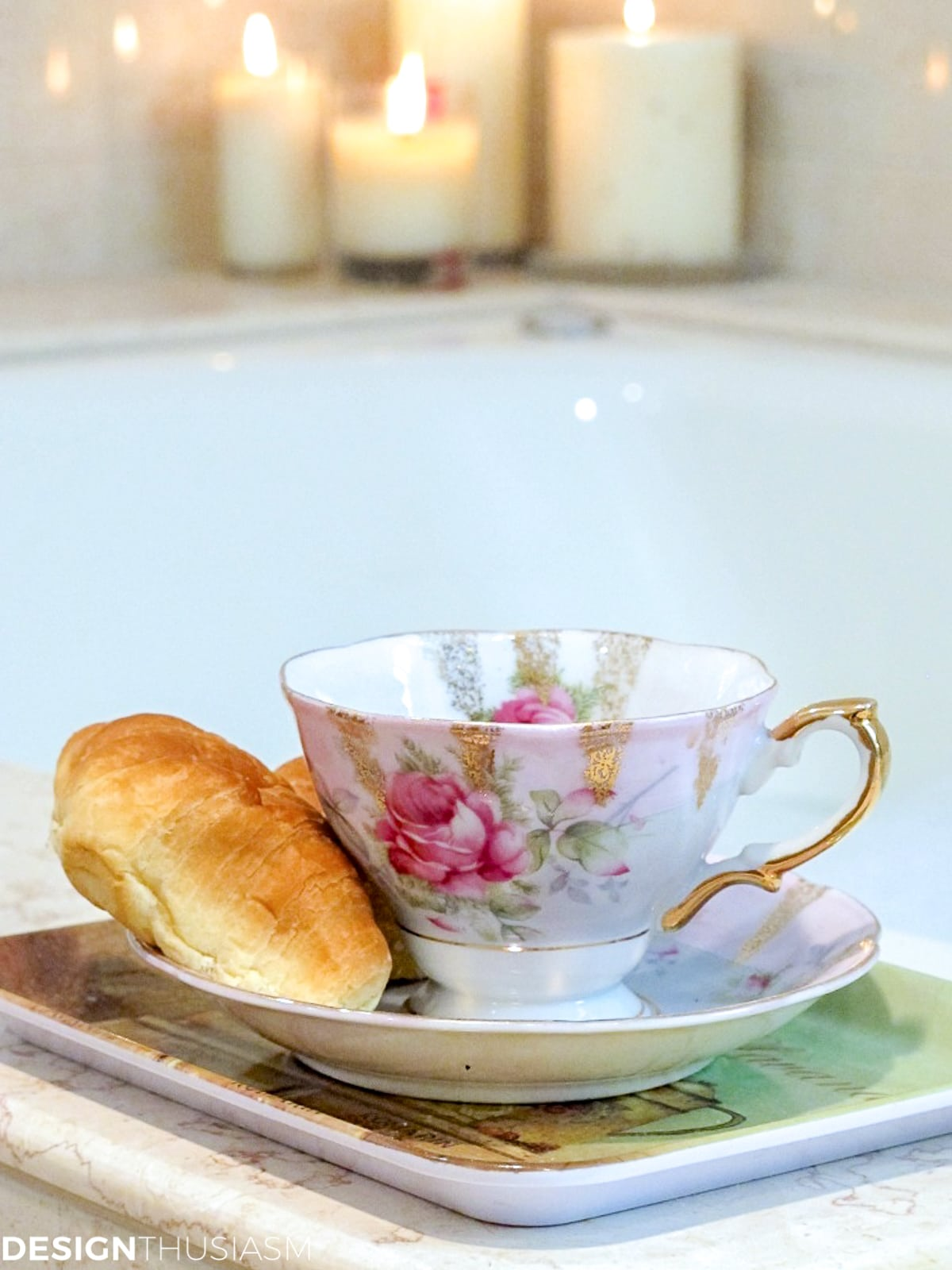 master bath remodel spa tub with teacup and candles