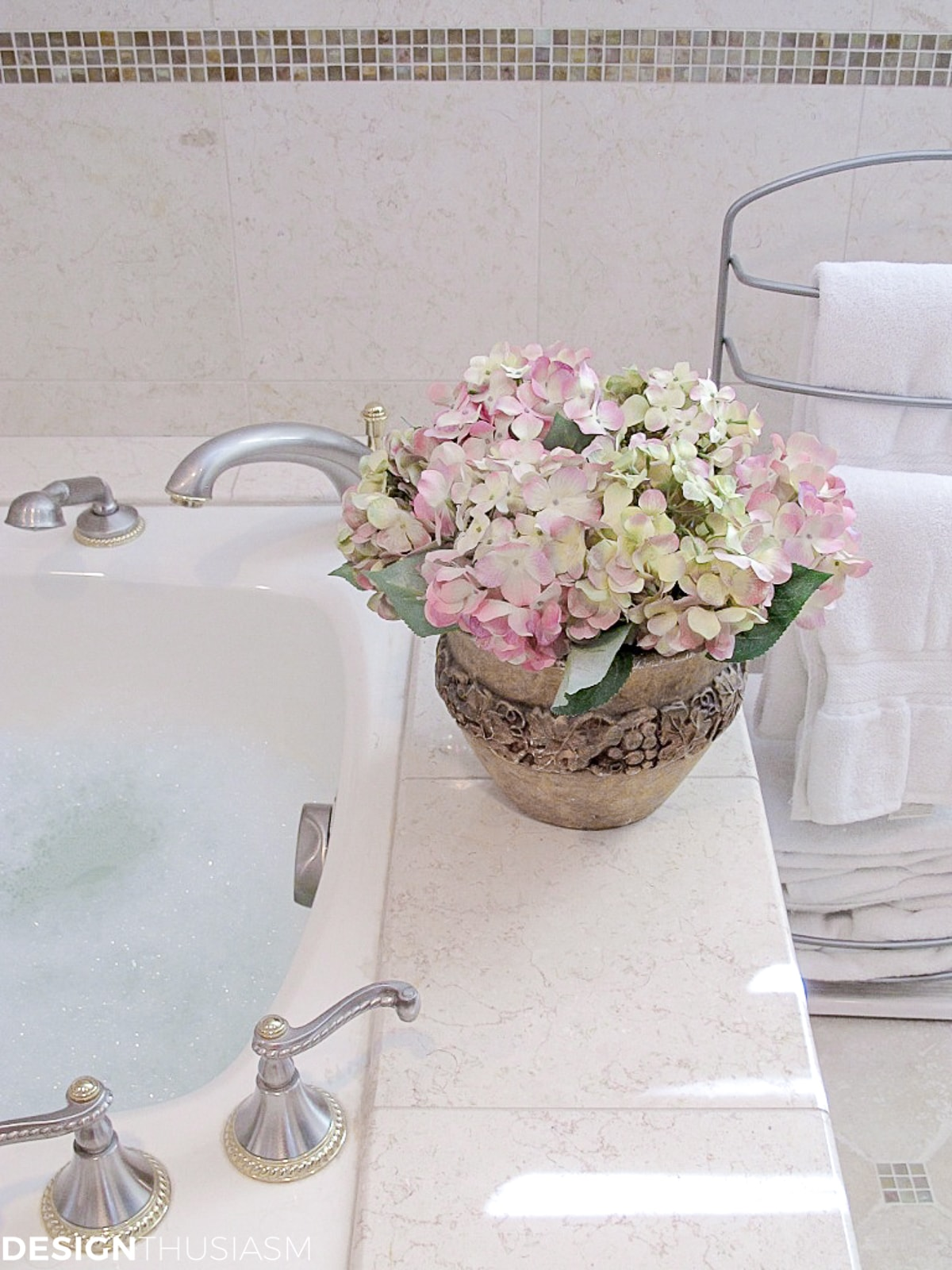 master bath remodel flowers on tub