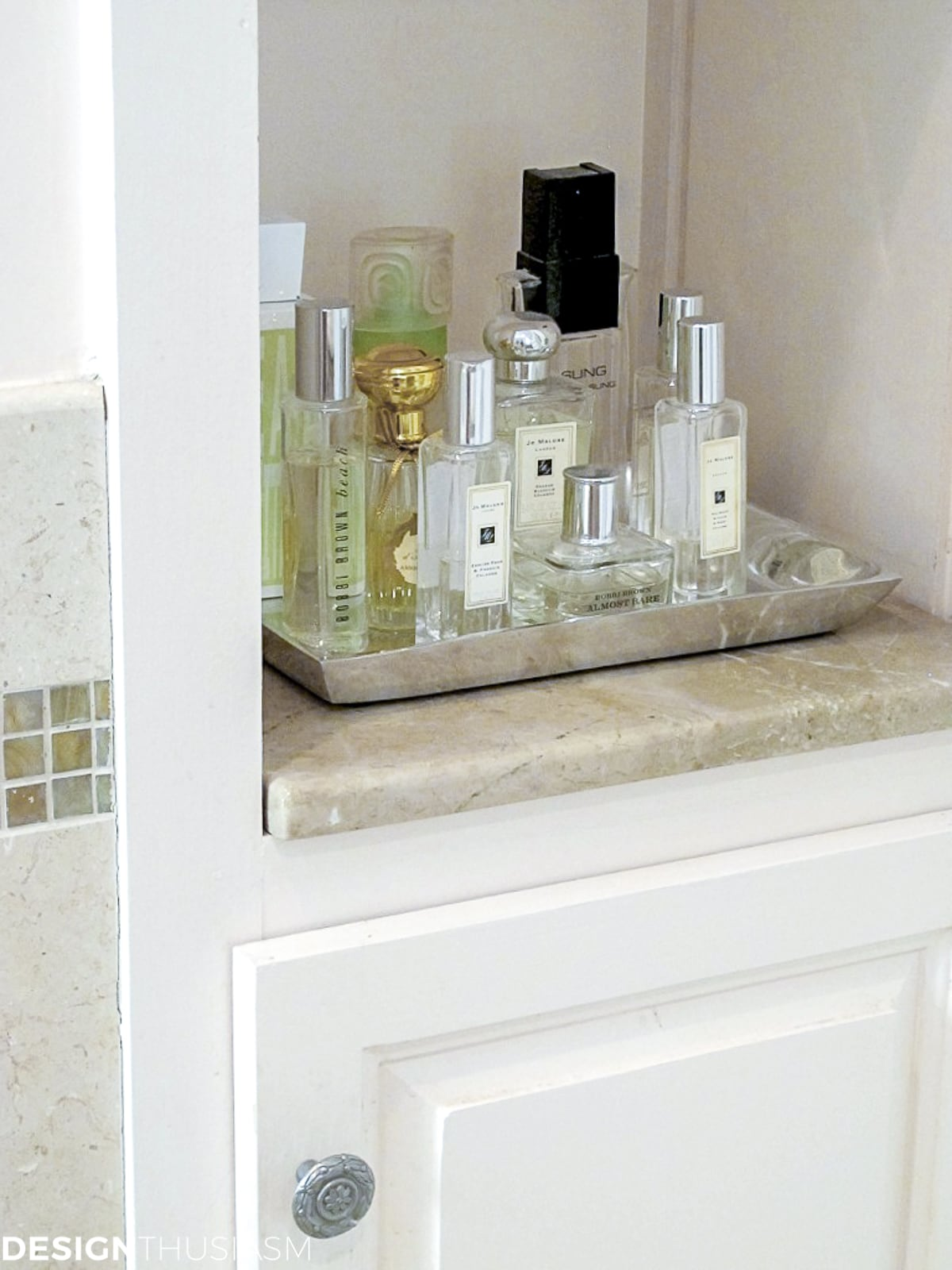 master bath remodel perfume shelf