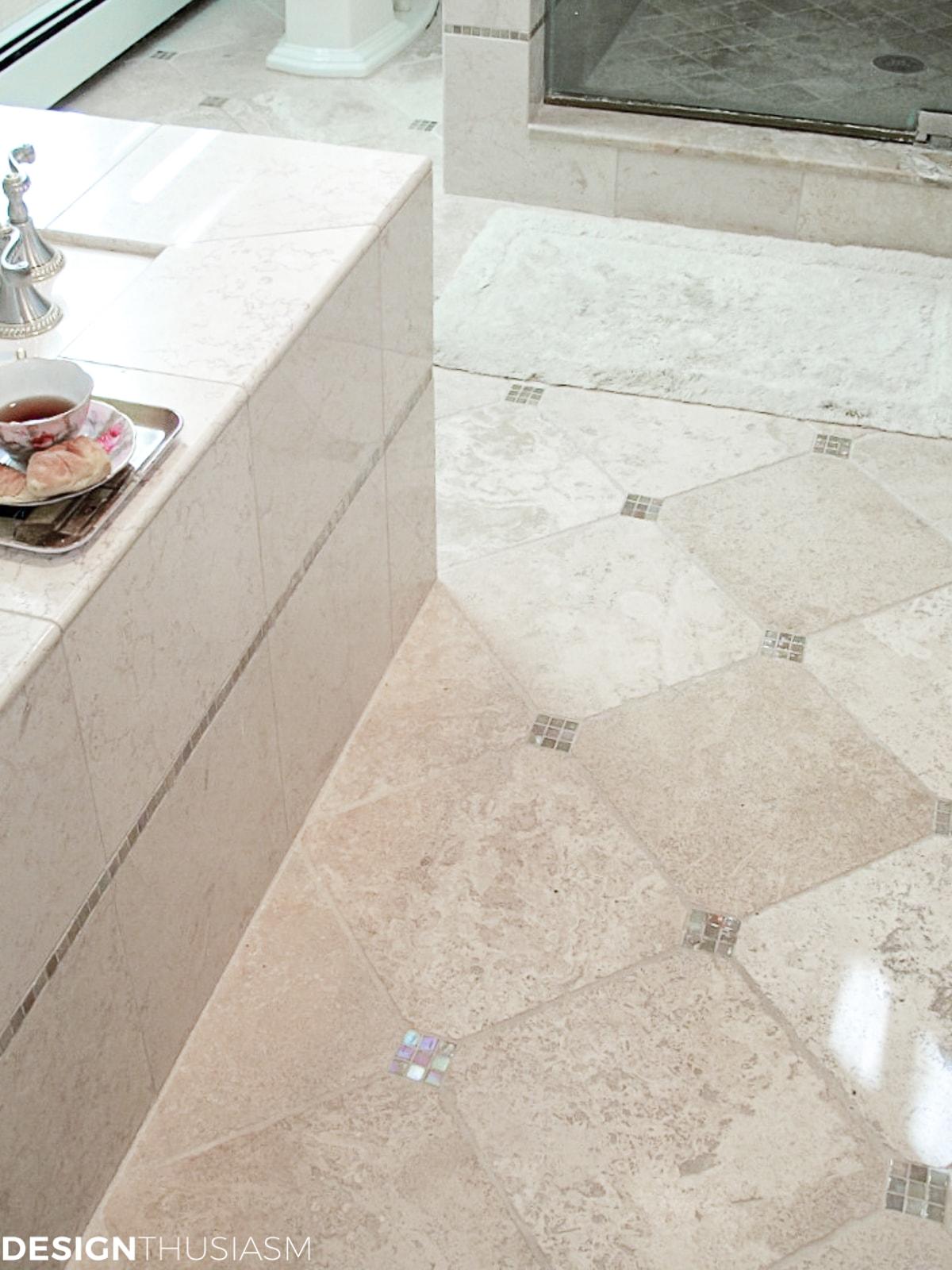 master bath remodel marble floor