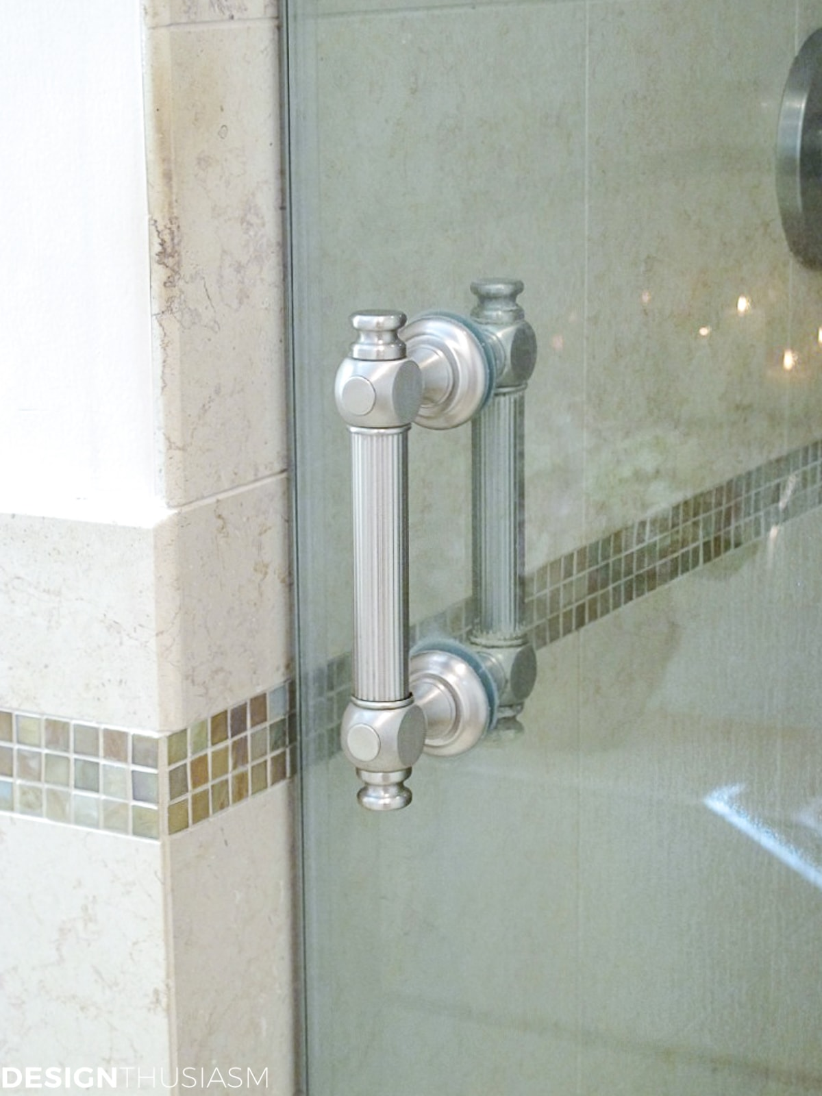 master bath remodel shower door handle