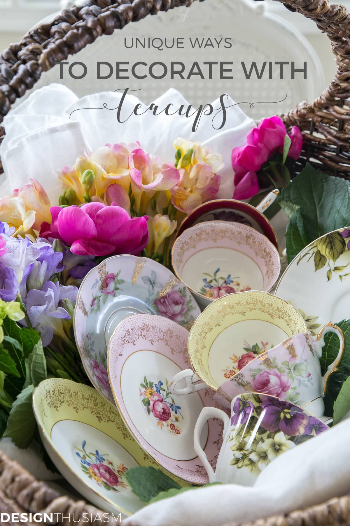 display vintage teacups and saucers