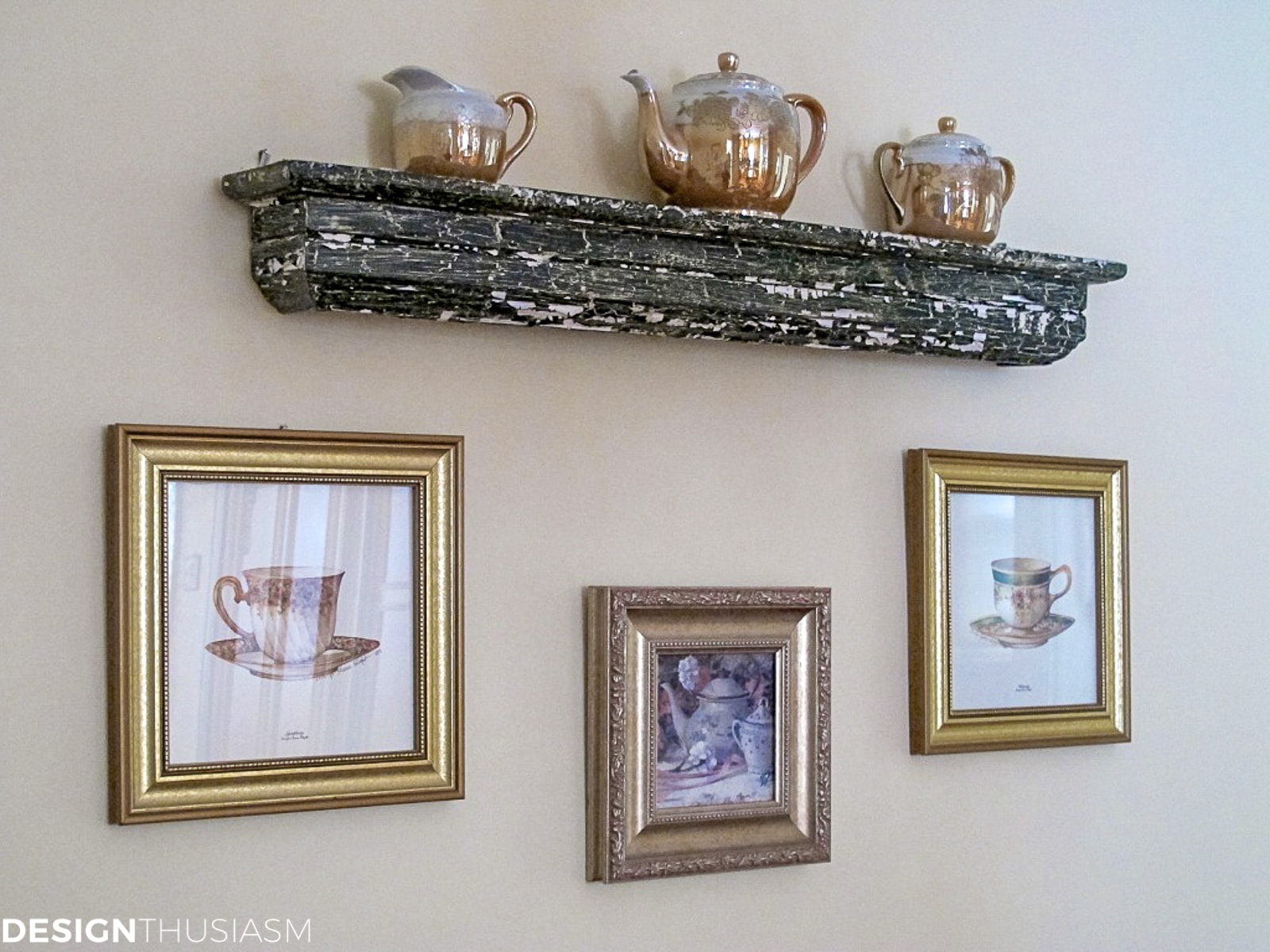 vintage teacups and saucers displayed on a shelf