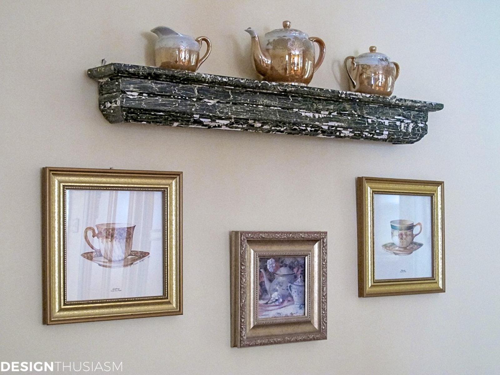 vintage teacups and saucers displayed on a shelf