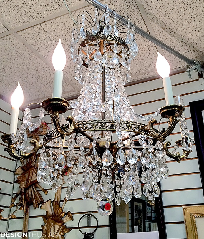 antique brass and crystal chandelier