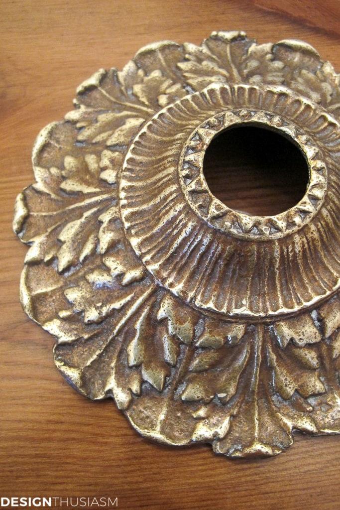 antique brass chandelier canopy